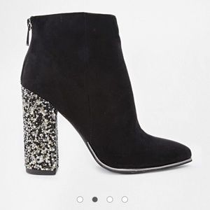 New Look Caviar Embellished Heeled Ankle Boots